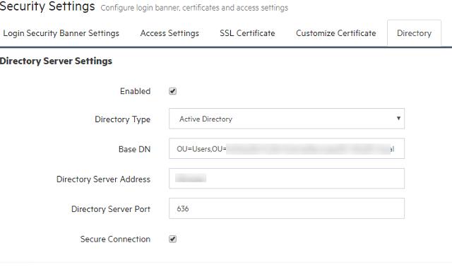 Directory server settings