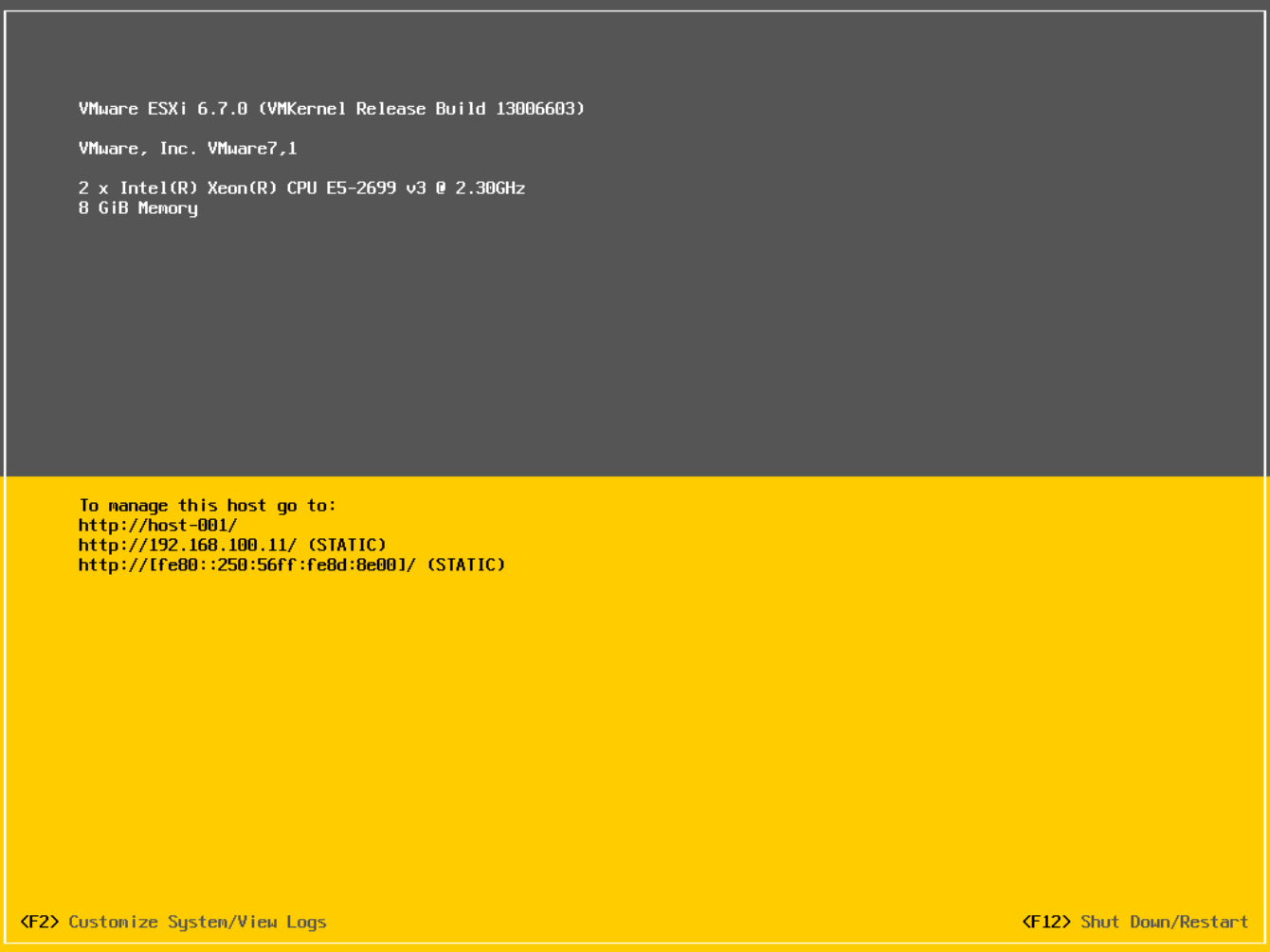 Installer finished, note hostname and IP