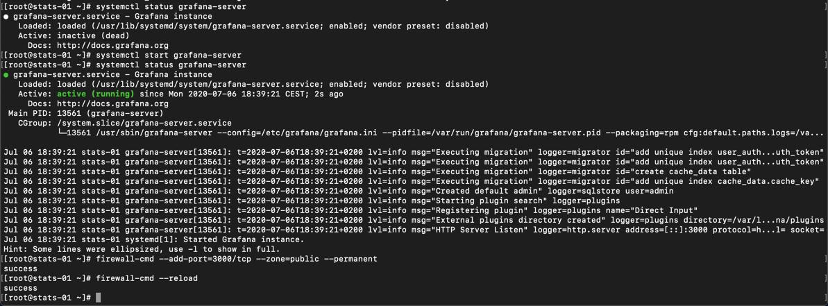 Grafana server status