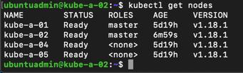 Kubectl status on new master