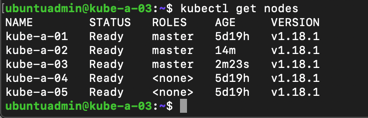 Kubectl status on second new master