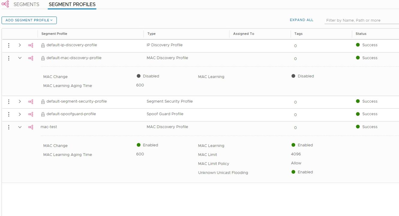 NSX-T segment profiles