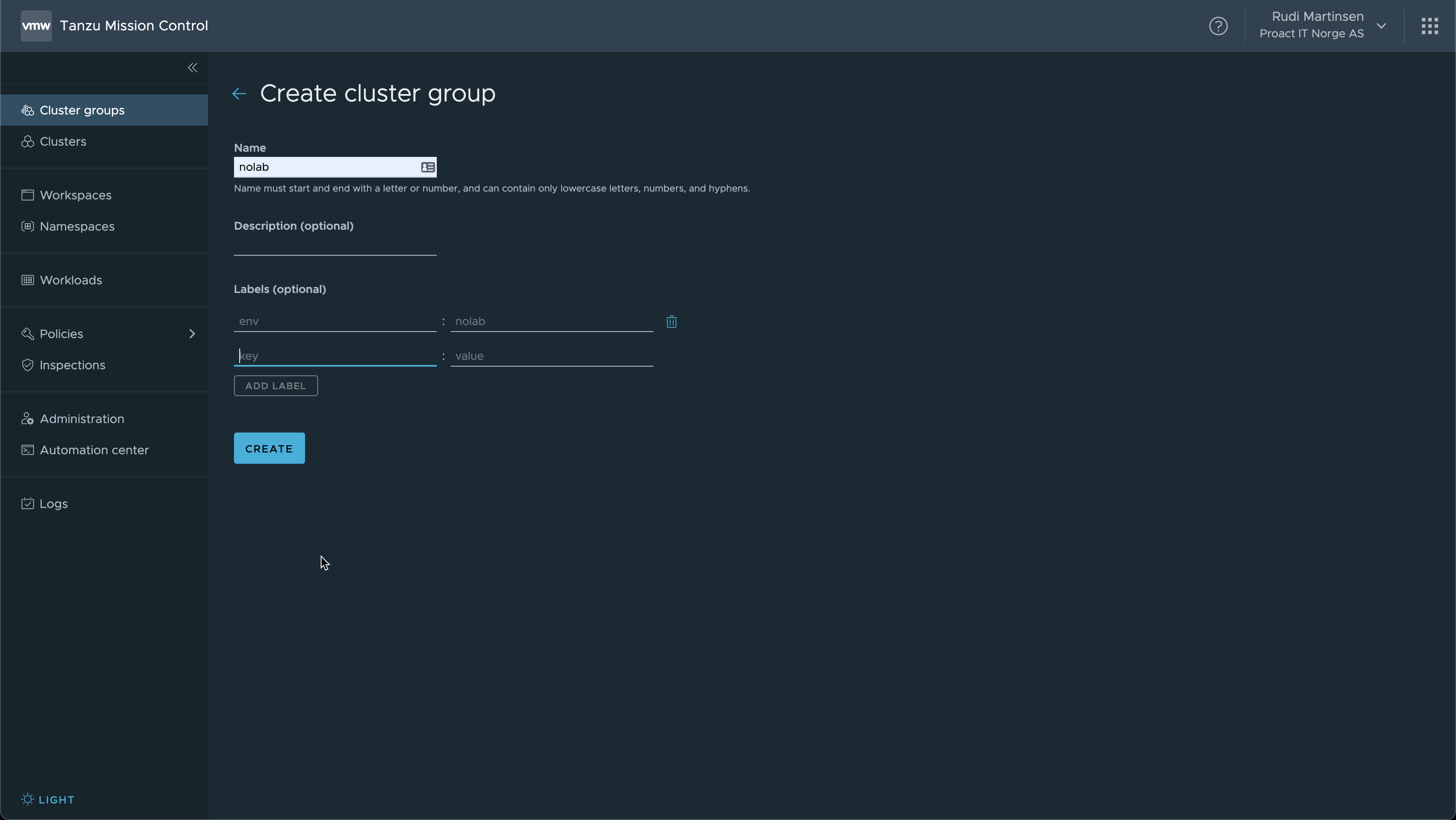 Create cluster group
