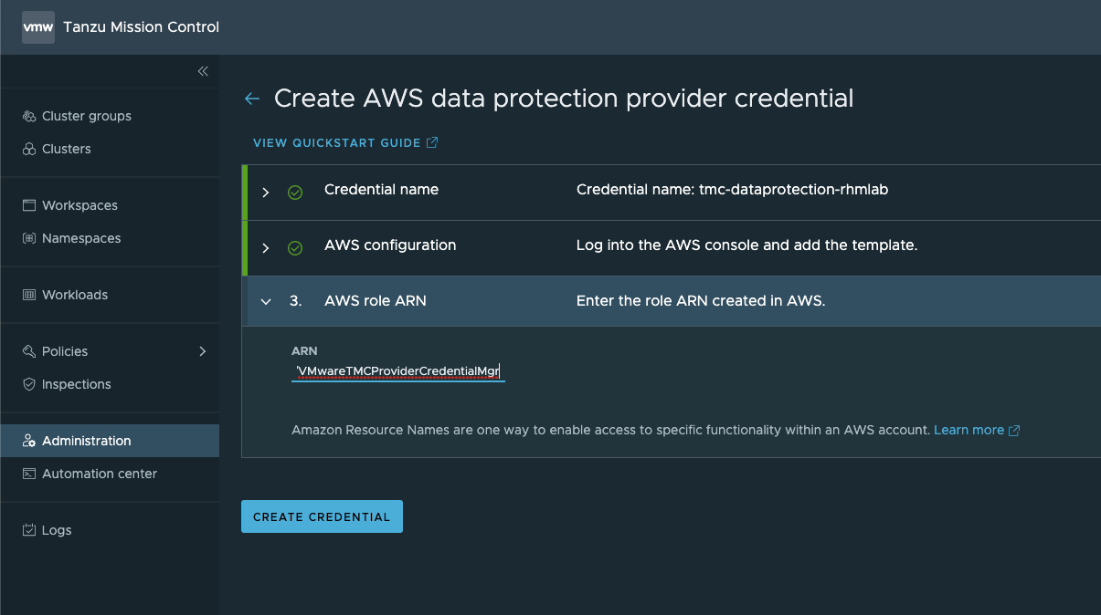 Add AWS ARN role to credential