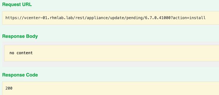 Starting install through API