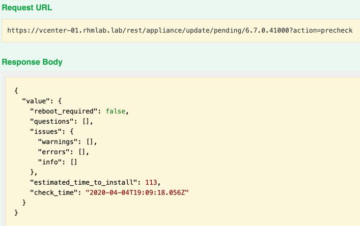 Run precheck through API