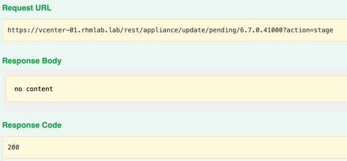 Stage install through API
