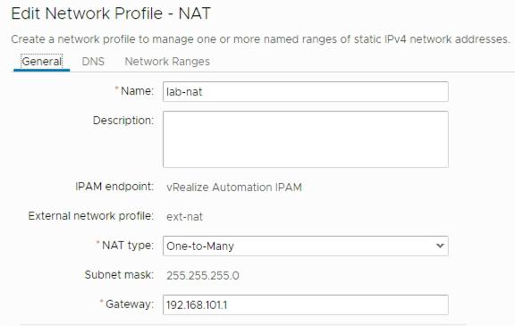 NAT network profile