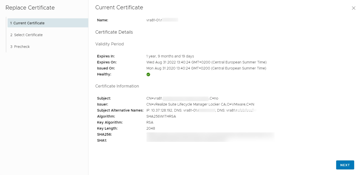 Existing certificate