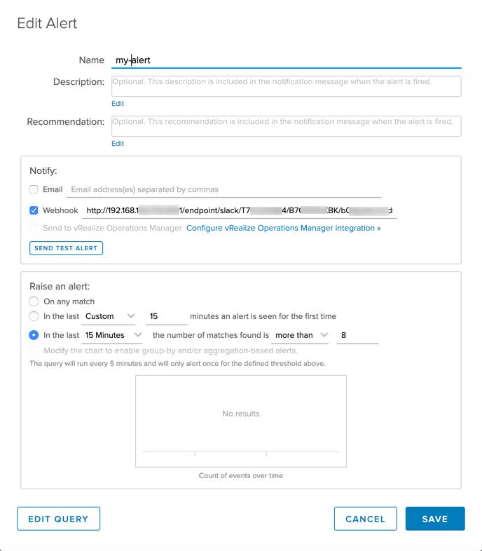 Configure webhook for alert